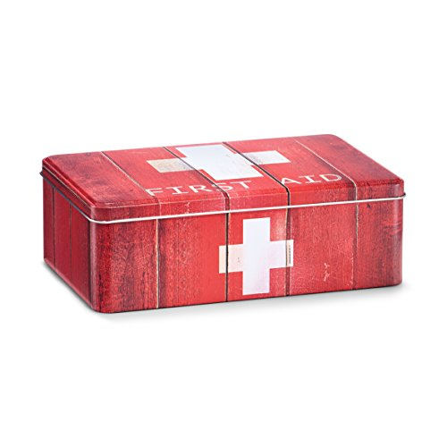 "Zeller 19232 Medizin-Box ""First Aid"", Metall, rot, ca. 20 x 13 x 6,8 cm"
