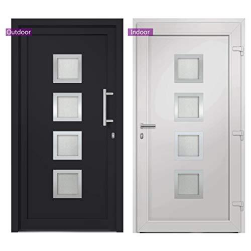 vidaXL Haustür mit Handgriff-Set 3 Schlüssel Montageset Nebeneingangstür Außentür Kellertür Eingangstür Wohnungstür Tür Anthrazit 98x190cm