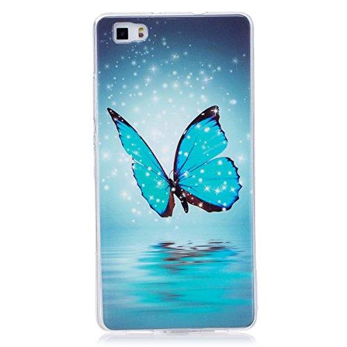 ISAKEN Compatibile con Huawei P8 Lite Custodia, AgganciabileLuminosa Cover Case con Lampeggiante Ultra Sottile Morbido TPU Cover Rigida Gel Silicone Protettivo Custodia - Glitter Farfalle