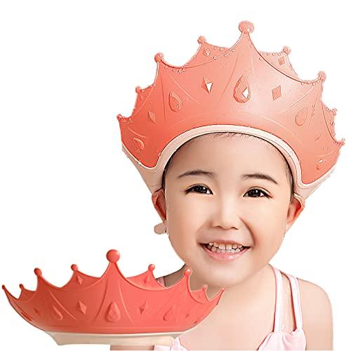 FUSACONY Gorro de Ducha Bebé, Ajustable para Gorro de Ducha para Bebés Gorro de Baño para Bebés, Protege Los ojos y las orejas para Niños,Visera Baño Bebé, de 6 Meses a 9 Años (Rosa)