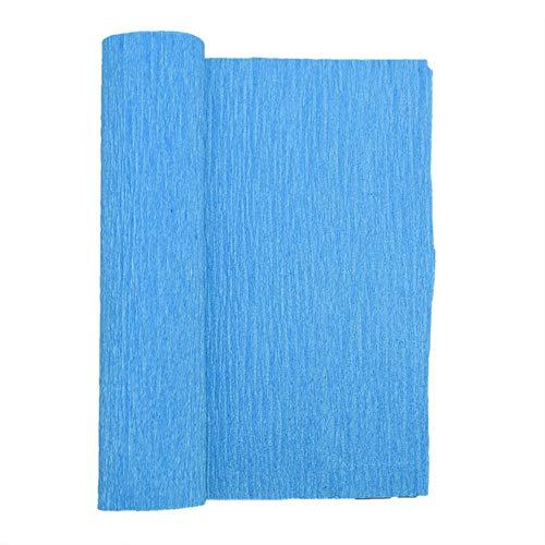 LINL 250cm 10/15/25 / 50cm Origami Crinkled Krepp-Papier DIY Geschenke Blumen Wrapping Falten Scrapbooking Crafts für Hochzeit Dekoration,F08 Sky Blue,50cm x 250cm