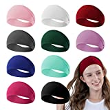 RITOPER 10 Pack Yoga Headbands for Women, Elastic Wide Soft Sweat...