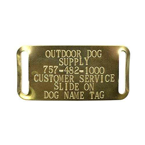 Custom Brass Slide-On Personalized Dog ID Tags for 1' Wide Collars