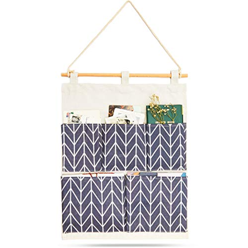 Blue Chevron Stripes Hanging Wall Organizer with 5 Pockets 175 x 14 in