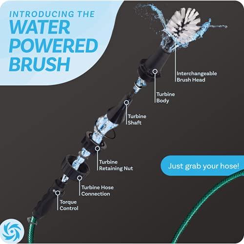 Brush Hero Wheel Brush - Auto Cleaning Kit w/ Water-Powered Rim Cleaner to Scrub and Wash Tires,...