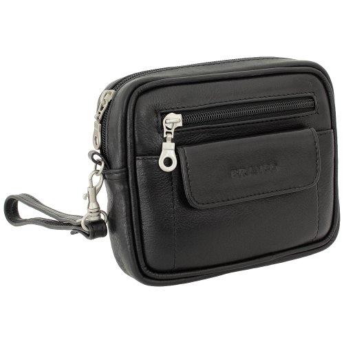 Branco Business Herren Damen Handgelenktasche Herrentasche Damentasche Tasche Gürteltasche Leder schwarz