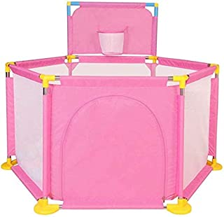 Teppichks Infant Child Protection Fence Toy Baby Crawling Toddler Game Fence Shooting Fence Indoor And Outdoor Security Fence  Color Pink