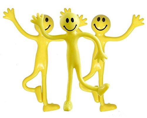 StressCHECK Sensorik Spielzeug-Set Sensorisches Spielzeug 3 x Gelbe Smiley Bendy Men – zur Stressminderung
