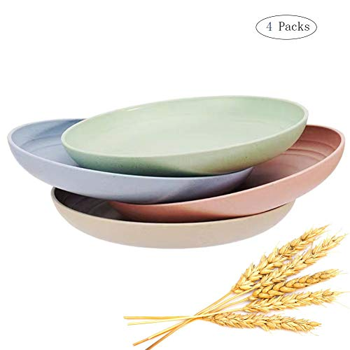 Lightweight Wheat Straw Dessert Plate for Kids,Eco-friendly Unbreakable Dinner Plate, Dishwasher & Microwave Safe, Set of 4, Multi-color (7')