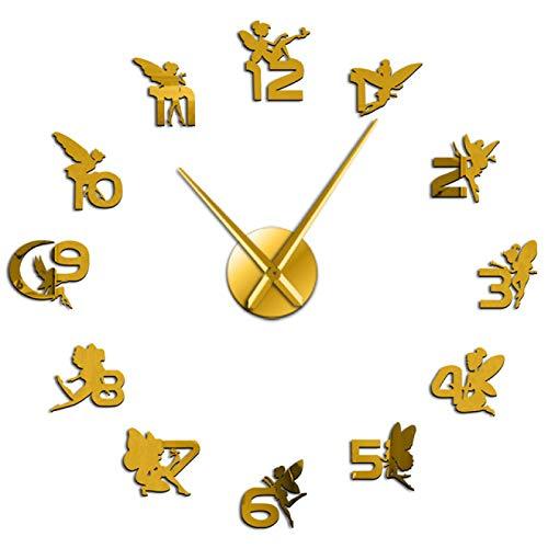 yage Hadas mágicas con Pegatinas de números de Espejo DIY Reloj de Pared Grande Guardería Arte de Pared para niños Habitación de niña Reloj Decorativo de fantasía