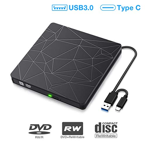 SAWAKE Externes CD/DVD Laufwerk USB 3.0 USB C, portable Slim CD/DVD-Lesegerät DVD-CD Player für Laptop, Desktop, Apple MacBook, MacBook Pro, MacbookAir, Windows 7/8/10, Linux, MacOS, Vista, Plug& Play