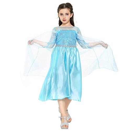 Katara - Disfraz de la princesa Elsa, vestido de la Reina del Hielo azul con copos de nieve en el tren - para niñas de 8-9 años
