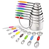 Measuring Cups and Magnetic Measuring Spoons Set, Wildone Stainless Steel 16 Piece Set, 8 Measuring Cups & 7...