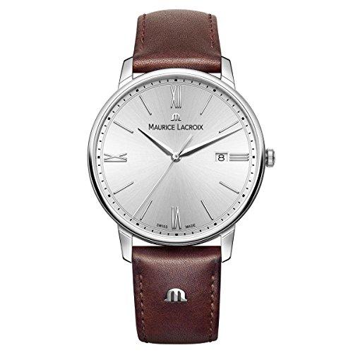 Maurice Lacroix Herren Analog Quarz Uhr mit Leder Armband EL1118-SS001-110-1