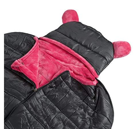 Woombie Big Peanut Minky Fleece-Lined 2-Season Hooded Sleeping Bag with Travel Tote - Ergonomic Design for Kids 3-10 Years, Charcoal/Pink