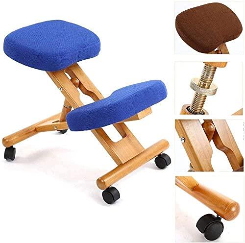 Knienstuhl Ergonomischer Stuhl Haltung Korrekturstuhl für Haltung Back Office Home Orthopädische Einstellbare Kniewehrstühle mit Rädern Höhenverstellbarer See-Dunkelblau Excellent