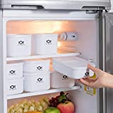 SutMsh Fiambreras de Plástico,Set de 4 Conservadores Herméticos de Plástico de 0.7L, 0.9L, 1L, 1.4L,Sin BPA,Higiénico, No Retiene Olores,Portátil,Blanco,Aplicable a Refrigerador, Microondas
