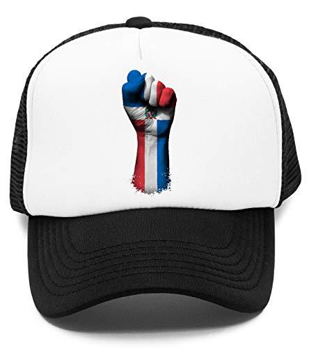 Flagge von dominikanisch Republik auf EIN Angehoben geballt Faust - dominikanisch Republik Kinder Kappe Baseball Rapper Cap