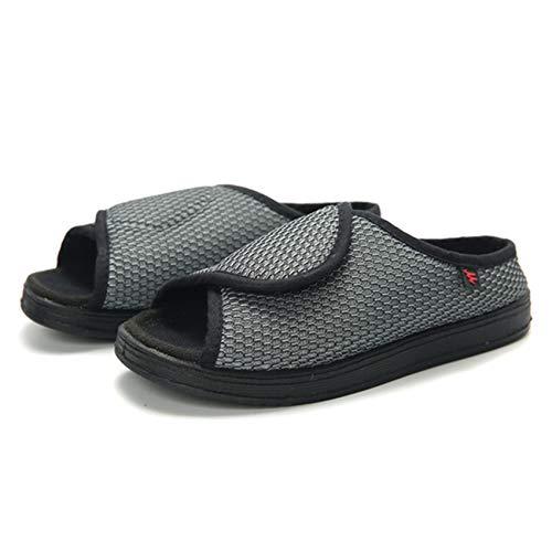 SZFGYJ Zapatillas Diabéticas Para Mujer, Zapatos Abiertos Hinchados Edema Ajustable Zapatos Para Caminar Sin Deslizamiento,Gris,35