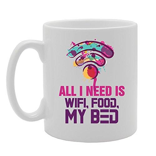 MG3598 Alles wat ik nodig heb is Wifi, Voedsel, Mijn Bed Nieuwigheid Gift Gedrukt Thee Koffie Keramische Mok