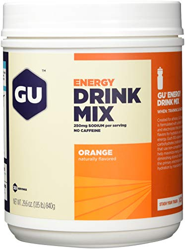 GU Energy Drink Mix Orange, Kohlenhydrat-Elektrolytgetränk, Dose mit 30 Portionen, 840 g