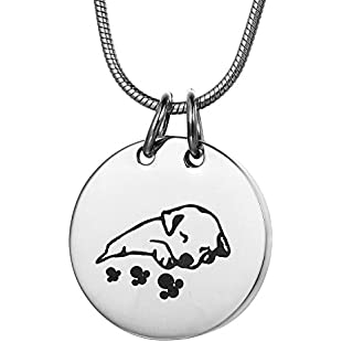 ZCBRISK Sleeping Dog Pet Urn Necklace, Cremation Jewelry Ashes Pendant Memorial Keepsake - Silver