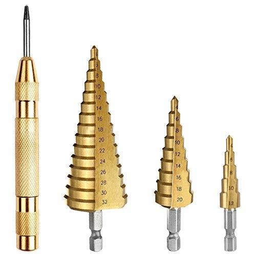 Tonsooze Stufenbohrer Spiralnut Kegelbohrer 3pcs mit Automatischer Zentrierstempel, Titanbeschichtet, Hex Shank, 4-12 mm/4-20mm/4-32mm für Edelstahl, Metall, Holz, Kunststoff