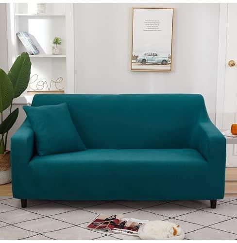 FENFANGAN Couch überwurf Stretch, Magic Sofa überzug ausziehbar, All-Inclusive, Mikrofaser-Stoff, Kann Ihr Chaiselongue-Sofa vor Flecken und Beschädigungen schützen (Turquoise Blue,3 Seats 180-225cm)