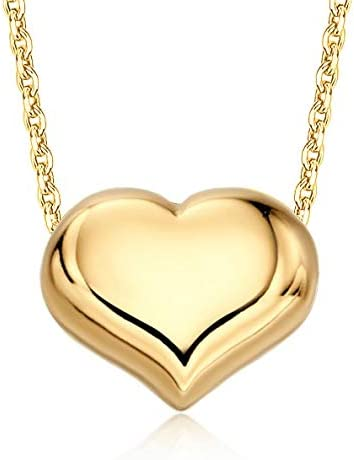 14K Yellow Gold Floating Puff Necklace Polished Pendant sold out Sale Heart Sh