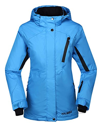 Krumba Damen Sportbekleidung wasserdichte Winddichte Kapuze Warm Skijacke BLAU L