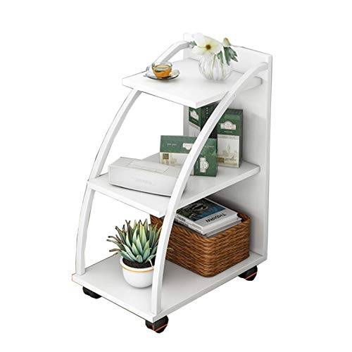 Jcnfa-side table Movable sofa side table, Half-curved trapezoid design, Plant stand, Steel and wood combination design, 3 layers/4 layers, 3 colors (Color : White, Size : 19.68 * 11.02 * 30.31in)