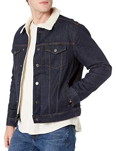Amazon Essentials Men's Sherpa Jacket, Rinsed Wash, Large