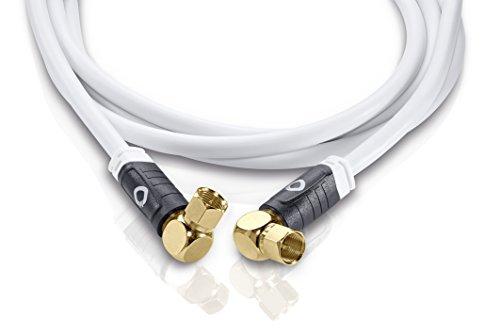 Oehlbach Transmission Edge S - OFC Sat-Kabel, Antennenkabel für Satellit und Sky Receiver - F-Stecker m/m, abgewinkelt, DVB-S/S2, HDTV, 4k UHD - 2,20m weiß