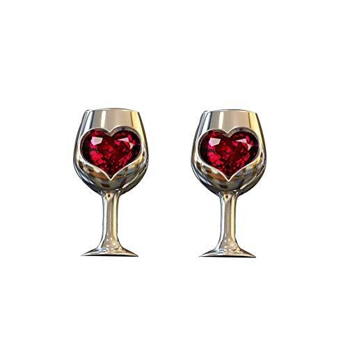 U-K Pendientes Preciosos Vintage Mujer Amor corazón imitación rubí con Incrustaciones de Vidrio de Vino Pendientes de aretes Pendientes de joyeríaDiseño Profesional