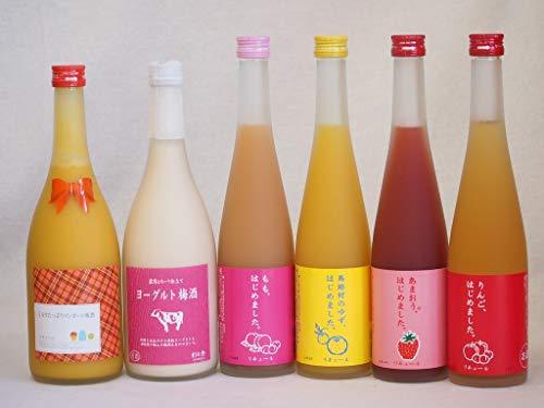 果物梅酒6本セット(あまおう梅酒 ミルクたっぷりマンゴーの梅酒 もも梅酒 ヨーグルト梅酒(福岡) りんご梅酒 馬路村のゆず梅酒) 500ml×4本 720ml×2本