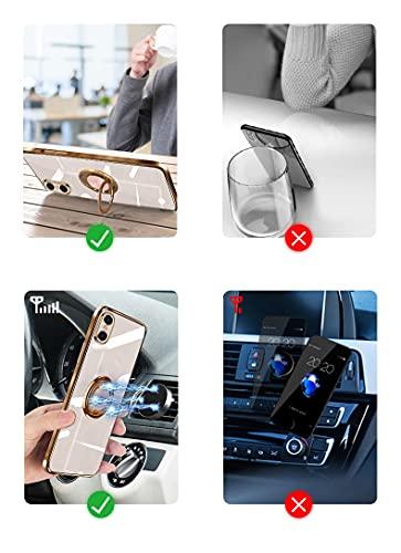 iPhonexケースiPhonexsケースTPU耐衝撃リング付き車載ホルダー対応軽量薄型擦り傷防止取り出し易い携帯カバースタンド機能落下防止アイフォンx/xsケース5.8インチ(iPhonexケースiPhonexsケースライトピンク)