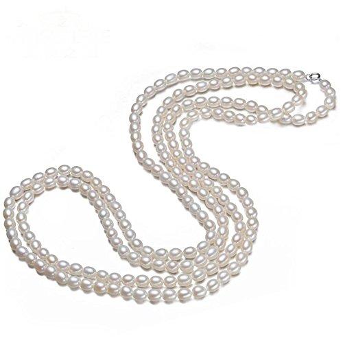 JYX Perlenkette lang echte 7–8 mm Oval Halskette Süßwasser Zuchtperle weiß Endless Pullover Kette 121,9 cm