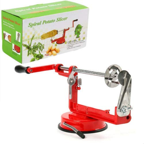 YaeKoo Twisted Potato Slicer Spiral French Fry Cutter Potato Peeler Pear Master Hand-cranking Spiralizer Kitchen Slicer Stainless Steel Blades and Strong Suction Base