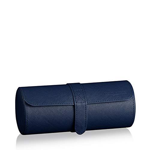 HEISSE & SÖHNE SEIT 1976® Uhrenbox/Aufbewahrung Rondo 3 Blau Eidechsen Optik für 3 Armbanduhren