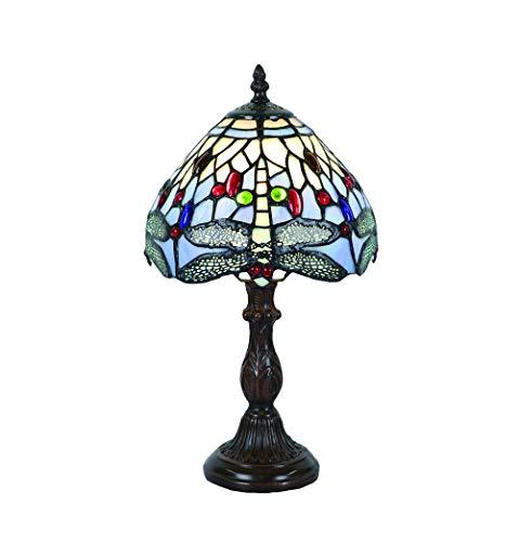 Tokira Lámparas de mesa Tiffany vintage 8 pulgadas, patrones de lámparas de vidrio manchado Hecho a mano Blue Dragonfly Dormitorio Lámparas de noche Sala de estar Moderna