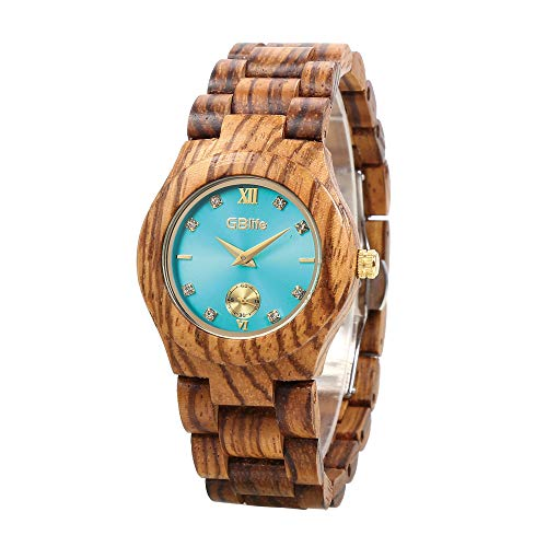GBlife Wood Watch for Women, Lightweight Analog Quartz Wooden Wristwatch with Adjustable Wood Band/Mint Dial/Golden Pointers