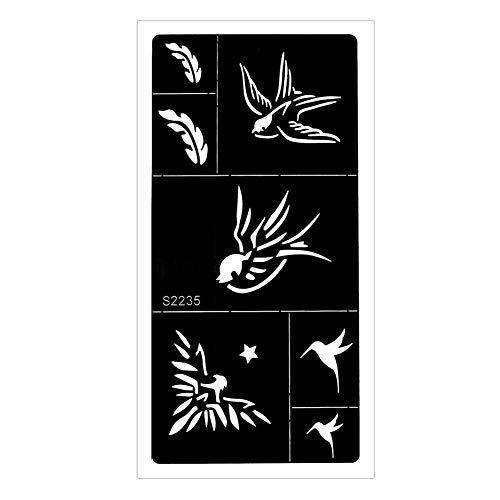 JUSTFOX - Plantilla de tatuaje de henna para aerógrafo, diseño de colibrí golondrina con pluma Kina Dövme.