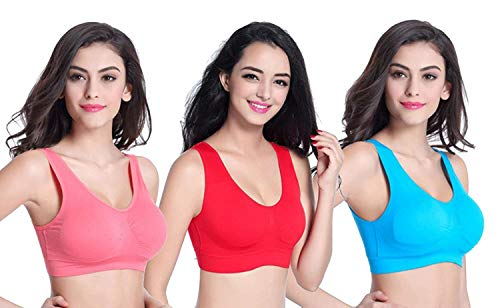 FirstWish Women's Stretchable Air Bra (Colour May Vary,Free Size,Fits Best-28-34) - Combo Pack of 6