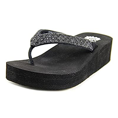 Yellow Box Women's Scalia Rhinestone EVA Thong Flip Flop Sandals Black Size 8.5