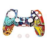 Funda de silicona estilo multicolor para gamepad + 2 tapas de joystick para controlador PS4 Fibra plateada negro sésamo rojo gallinero cunas para dedos Juegos y accesorios Gadgets de juegos Control