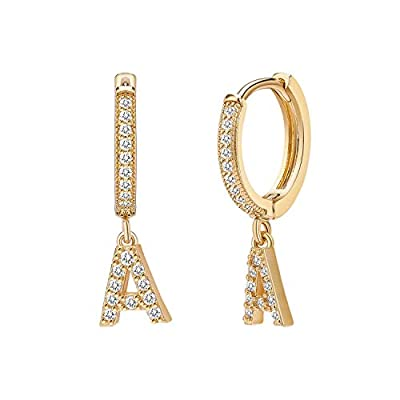 Initial Dangle Hoop Earrings for Women 14K Gold Plated Cubic Zirconia Personalized Letter A Huggie Earrings Gift for Her