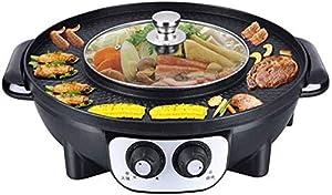 YAYY Barbecue Hot Pot Multi-Fonctionnel sans fumée antiadhésive Barbecue Conjoined Pot Double Control Switch Conjoined Heating Hot Pot Barbecue électrique (Couleur: Or) -Noir (Mise à Niveau)