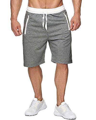 Voncheer Mens Elastic Waist Drawstring Summer Workout Shorts with Zipper Pockets (S, Light Grey Shorts with Back Pocket)