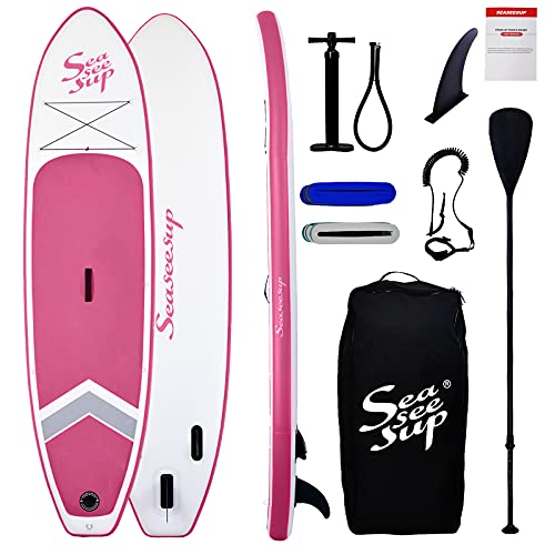 """SEASEESUP Inflatable Stand Up Paddle Board for Adults Youth and Kids, 10'6"""" Blow Up Boards Surfboard with SUP Accessories Adj Paddle, ISUP Backpack, Pump, Leash for All Levels of Surfing, Pink"""