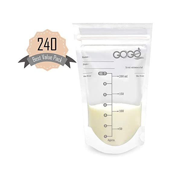 240 CT (4 Pack of 60 Bags) Best Value Pack Breastmilk Storage Bags – 7 OZ, Pre-Sterilized, BPA Free, Leak Proof Double Zipper Seal, Self Standing, for Refrigeration and Freezing – Only at Amazon